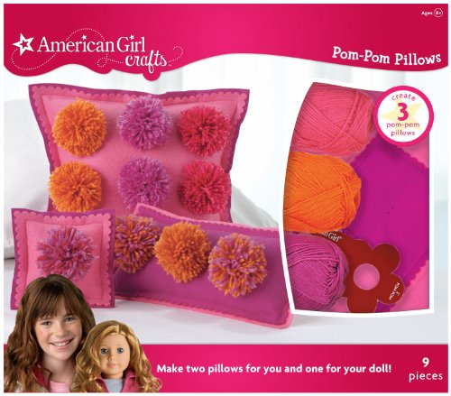 American Girl Crafts Pom Pom Pillow Kit Warm front-554498