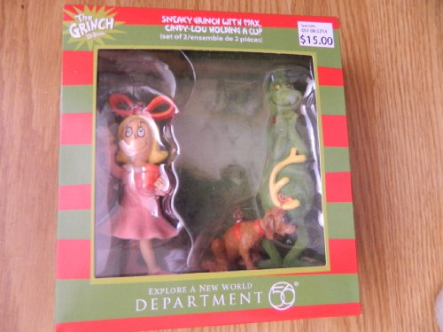 Department 56 The Grinch Ornament set of 2 – Sneaky Grinch with Max / Cindy-Lou Holding Cup