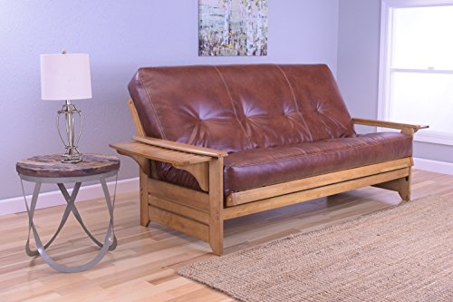 rosemount-full-size-futon-honey-oak-wood-with-bonded-leather-innerspring-mattress-saddle