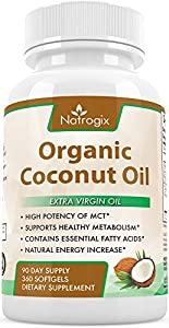 100% Organic Virgin Coconut Oil 4000mg Per Serving - 360 Softgels - Highest Potency on the Market - Improves for Hair, Skin, Digestive Health, and Healthy Immune System