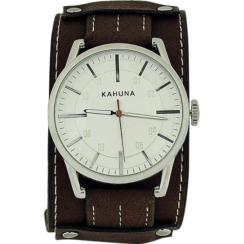 Kahuna Gents Analogue Wide Brown Leather Effect Cuff Strap Watch Akuc-0050G