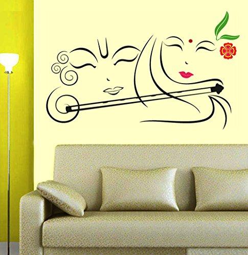 3e0451096de 79% OFF on Decals Design  Radhe Krishna with Flute  Wall Sticker ...