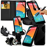 10-IN-1 Superior Pack LG Google Nexus(Black) 5 PREMIUM PU LEATHER 3 CARD SLOTS Leather Wallet flip Case Skin Cover + LCD Screen Protector Guard + Micro USB CE Approved 3 Pin Mains Charger + Micro USB Desktop Charging Dock Stand Charger + S Line Wave Gel