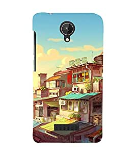 printtech Chinese City Buildings Abstract Back Case Cover for Micromax Canvas Spark Q380