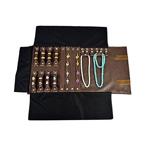 unionplus collana bracciale e orecchini anello custodia combinazione rotolo borsa Organizer, ideale per da viaggio marrone