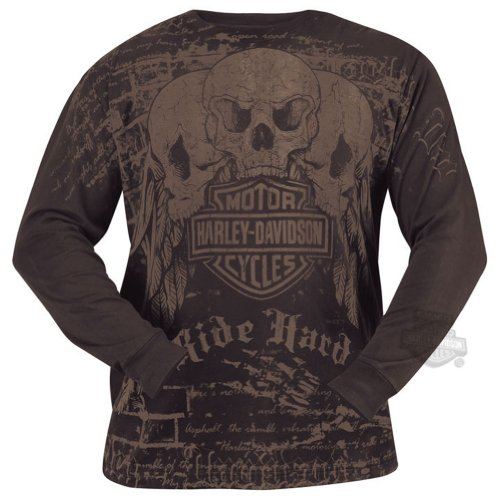 Harley-Davidson Mens Ride Skull Dye Brown Cotton Long Sleeve T-Shirt