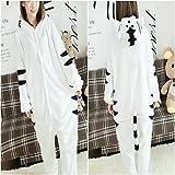 QINF Unisex Polar Fleece White Tiger Kigurumi Pajama