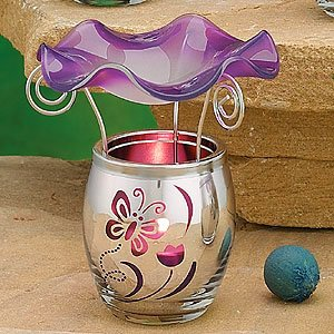 StealStreet SS-A-58816 Electroplated Glass Oil Burner, Purple