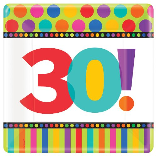 Dots and Stripes Birthday 30 - Square Banquet Dinner Plates - 1