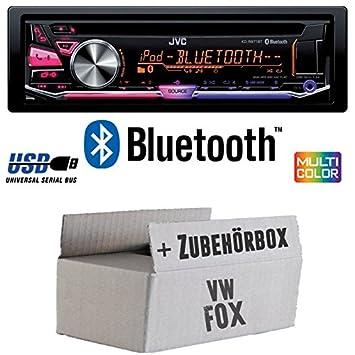 VW Fox - JVC KD-R971BT - Bluetooth CD/MP3/USB MultiColor Autoradio - Einbauset