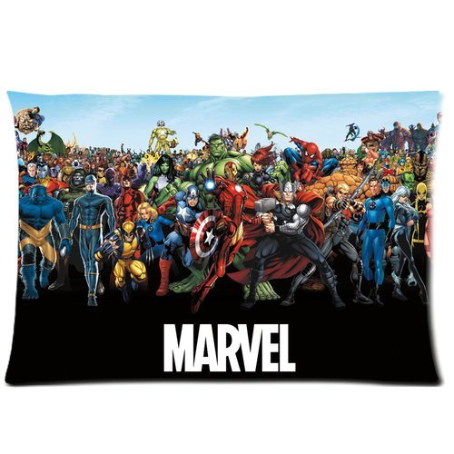 Generic Custom Captain America Marvel Cool Design Printed Zippered Pillowcase Cushion Case 20*30(Twin Sides) front-1007434
