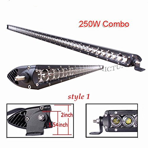 Mictuning Performance Sr-Mini Series 51'' 250W__Single Row Cree Led Light Bar Combo Spot/Flood Beam 5W Led - 2 Style Mount 2700 Lumen 1000 Yards Visibility 4X4 Off Road Jeep Polaris Razor Atv Suv Utv Car Truck