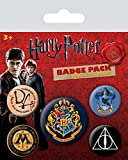 Harry Potter - Hogwarts, 1 X 38mm & 4 X 25mm Chapas Set De Chapas (15 x 10cm)