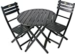 3 Piece Folding Bistro Set - Black UV Painted Finish