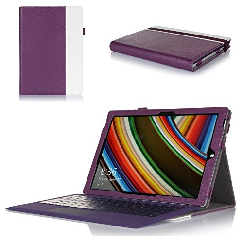 ProCase Stiff Folio Cover Case with Stand for Microsoft Integument PRO 3 (3rd Generation) Windows 8.1 Tablet (12 inch), Compatible with Exterior Pro Type Cover Keyboard, Built-in Experience with Multiple viewing Angles, exclusive for Integument Pro 3 (Pur