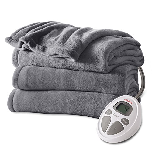 Buy Discount Sunbeam Microplush Heat Blanket, Queen, Slate