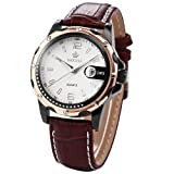Orkina Mens White Dial Coffee Leather Date Sport Quartz Wrist Watch Gift ORK049