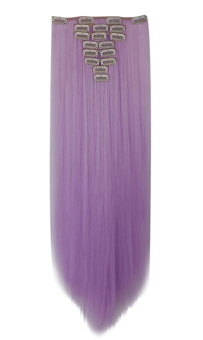 syalex (TM) longues 66cm Lot tête complète cheveux perruque à clipser bicolore dégradé Extensions en cheveux synthétiques 100% naturel véritable nouveau style