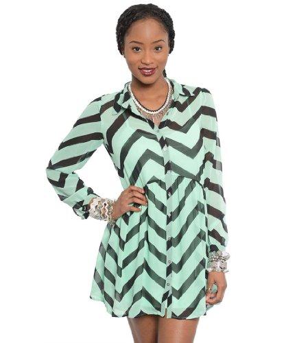 Feellib Women'S Long Sleeve Shirt Dress Small Mint Black