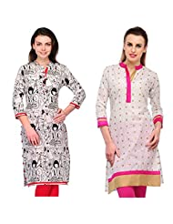 Cenizas Women's Cotton Pink Kurtas Pack Of 2 ( 2118WHT & 2110PNK)