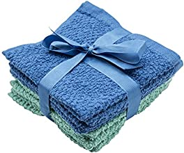 6 Pack Terrycloth Wash Cloths 12x12quot - Blue and Green