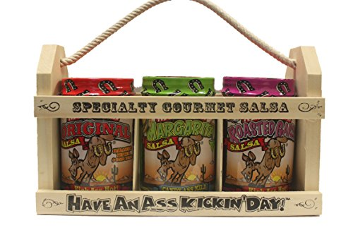Ass Kickin' Salsa Gift Set - In A Wooden Crate! What A Great Gift Idea! One 13 Ounce Ass Kickin' Original Salsa, One 13 Ounce Salsa From Hell, And One 13 Ounce Candy Ass Black Bean & Mango Salsa. Give This Gift To Your Favorite Salsa Lover And Leave A Las