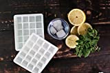 Mini 20 Cube Silicone Ice Trays - Cool 1 Inch Square Black or White Tray Set of Two (2) (White)