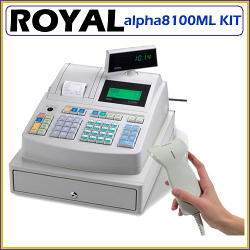 Royal alpha8100ML Electronic Cash Register 200 Departments 3000 Price Look-ups and Clerk ID System with PS700 USB Bar Code Scanner