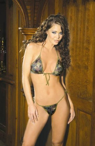 Camouflage Print String Bra Top And Matching Tie Side G-String (Camouflage,One Size)