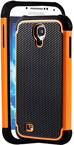 "Mylife Black And Orange - Classic Rugged Design (2 Piece Hybrid Bumper) Hard And Soft Case For The Samsung Galaxy S4 ""Fits Models: I9500, I9505, Sph-L720, Galaxy S Iv, Sgh-I337, Sch-I545, Sgh-M919, Sch-R970 And Galaxy S4 Lte-A Touch Phone"" (Fitted Back So"