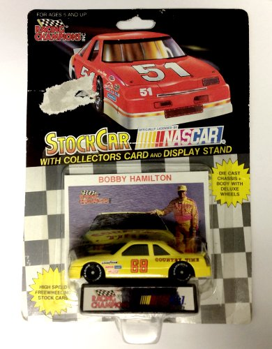 NASCAR #68 Bobby Hamilton Country Time Racing Team Stock Car With Driver's Collectors Card And Display Stand. Racing Champions Black Background Red Series 51 Car - 1