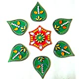 Store Utsav Marble Rangoli On Translucent Plastic Base Green Leaves With Red Hexagonal Center