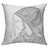 13 Odds Classic African Woman Embellished Face Embroidery Cushion Cover - Off-White, Silver & Antique