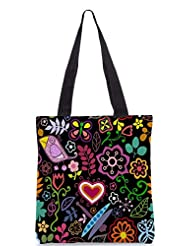 Snoogg Colorful Floral Seamless Pattern In Cartoon Style Seamless Pattern Designer Poly Canvas Tote Bag - B012FUIXG0
