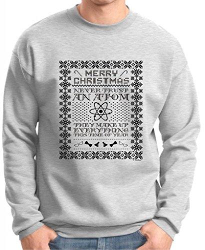 Ugly Christmas Sweater, Never Trust An Atom Premium Crewneck Sweatshirt Medium Ash
