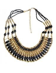Jewel Plus Black Metal And Bead Necklace For Women