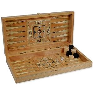 Wooden Middle Eastern Backgammon Set 19'' - ''Khachab Zein''