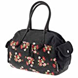 Basil Katharina Bicycle Shoulder Bag with Flowers - Black, 40 x 14 x 29 cm