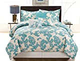 COMPASS Lala 6 Piece Luxurious Comforter Set, King, Blue
