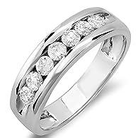 0.85 Carat (ctw) 14k White Gold Round Diamond Mens Anniversary Band Ring (Size 12.5)