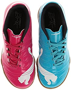 PUMA Evopower 4 Indoor JR Soccer Shoe (Little Kid/Big Kid),Beetroot Purple/Bluebird/White,6 M US Big Kid