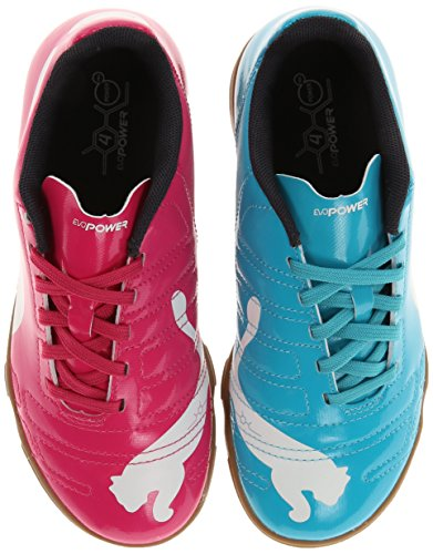 Puma Evopower 4 Indoor Jr Soccer Shoe (Little Kid/Big Kid),Beetroot Purple/Bluebird/White,3 M Us Little Kid