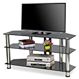 chinkyboo 3 Tier Black Tempered Glass TV Stand for Flat Screens TV Units, width 100cm