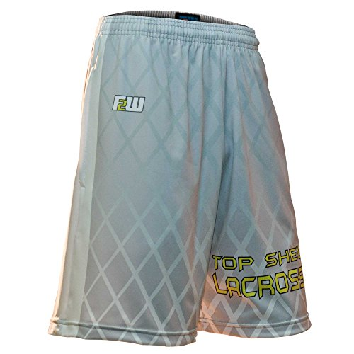Fit 2 Win Top Shelf Lacrosse White and Gray Sublimated Lacrosse Shorts, Medium