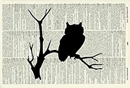 OWL ART PRINT - SILHOUETTE - GIFT - BIRD ART PRINT - VINTAGE ART - ANIMAL Art Print - Illustration - Picture - Vintage Dictionary Art Print - Wall Hanging - Home Décor - Housewares - Book Print 90D