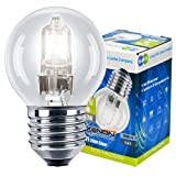 4 x Eco Halogen Energy Saving Mini Golf Balls Globes 42W = 60w ES E27 Edison Screw Classic Clear Round, Dimmable Light Bulbs Lamps, G45, Mains 240V