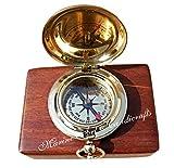 Handgefertigt Messing Push Button Richtung Kompass Taschenkompass. c-3191