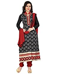 Yehii Women's Brasso Black Plain / Solid dress material Unstitched Salwar Kameez Dupatta for women party wear low price Below Sale Offer