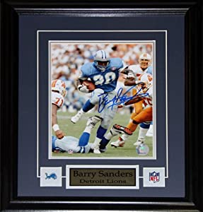 Barry Sanders Detroit Lions signed 8x10 frame by Midway Memorabilia