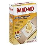 Band Aid Adhesive Bandages, Plus Antibiotic, Extra Large, 8 bandages